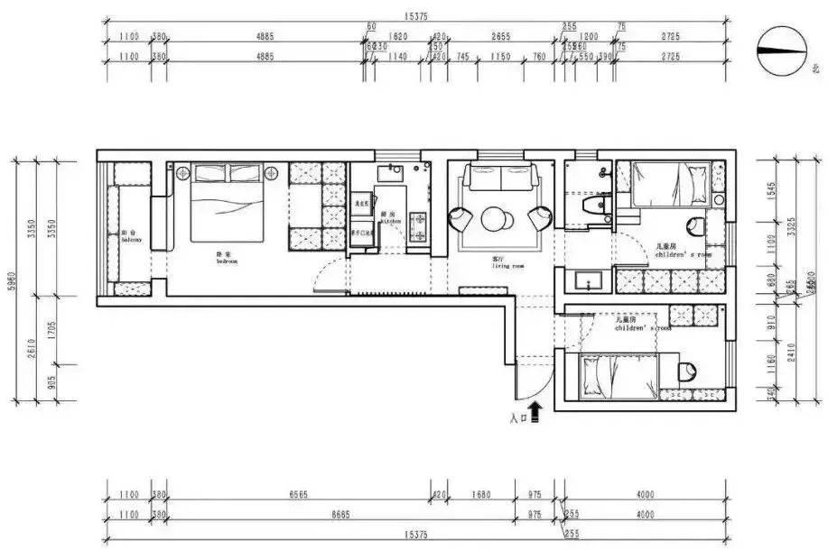 83平小戶型,兩室變三室,舍棄餐廳改出臥室,椅子掛在走廊墻上