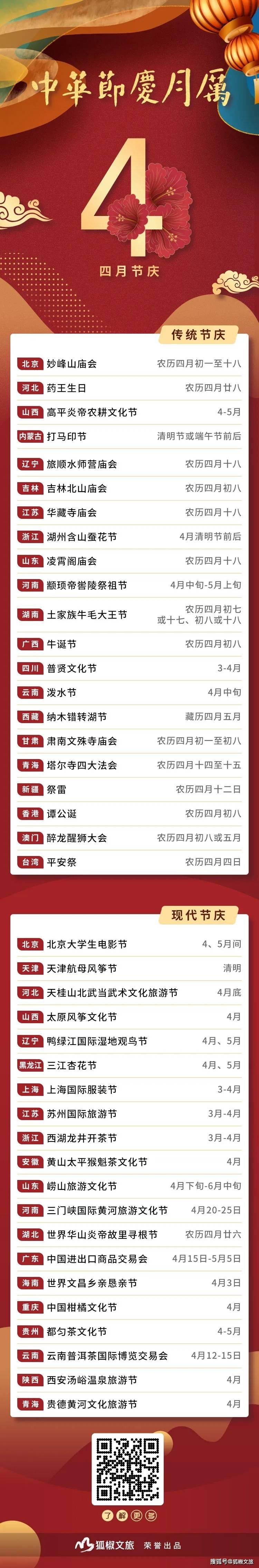 中华节庆月历 | 4月节庆:北京妙峰山庙会 黑龙江三江杏花节等你来!