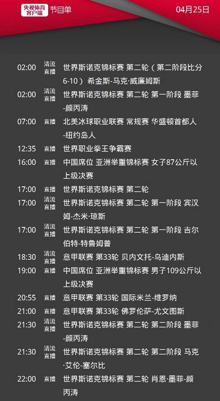 CCTV5直播颜丙涛出战斯诺克世锦赛,APP转C罗率尤文客战佛罗伦萨,5+转国米