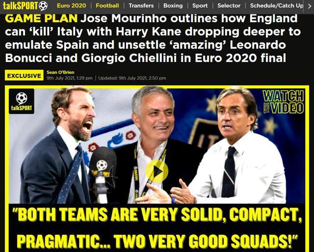 穆里尼奥:欧洲杯决赛胜负手是凯恩 中锋回撤中场 没人比他做得更好_sky娱乐登录
