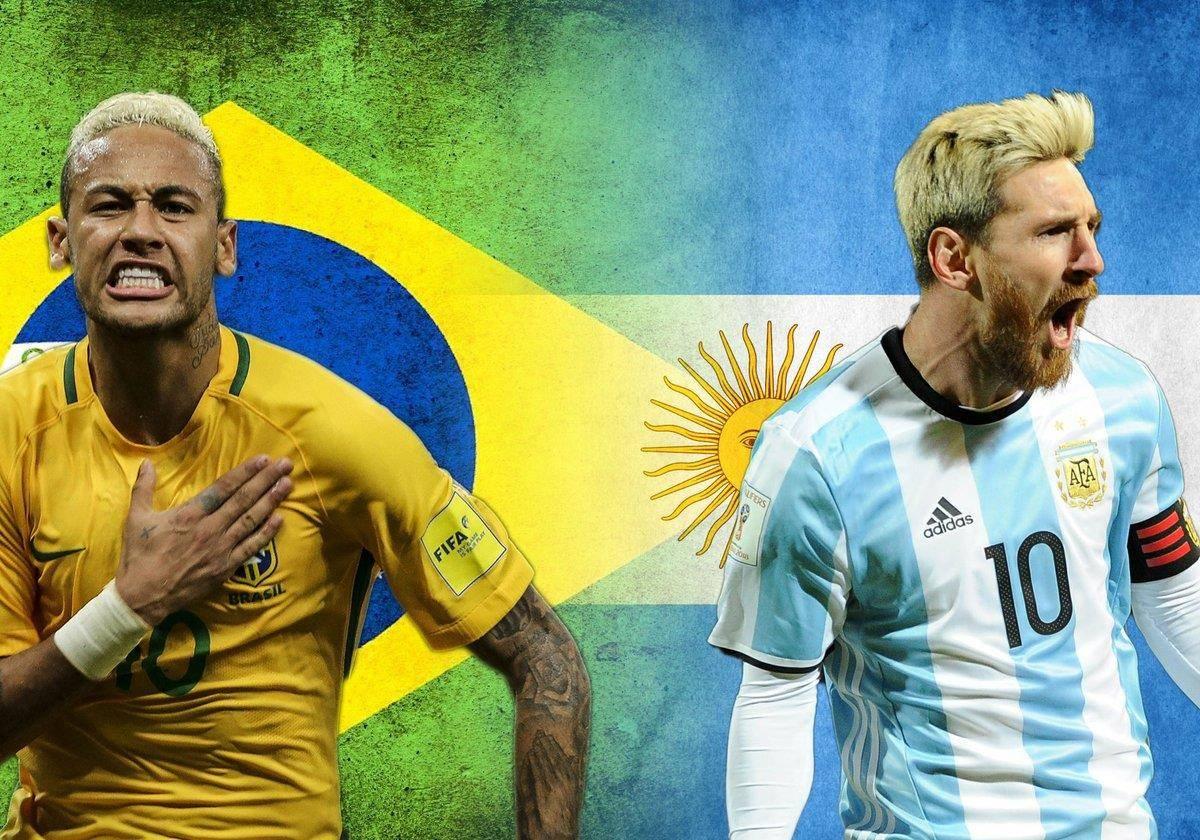 世界杯南美预选赛,阿根廷对阵巴西,梅西与内马尔的巅峰之战!