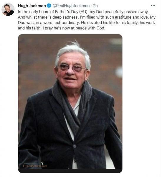休·杰克曼发文宣布父亲去世 代表作品有《范海辛》等