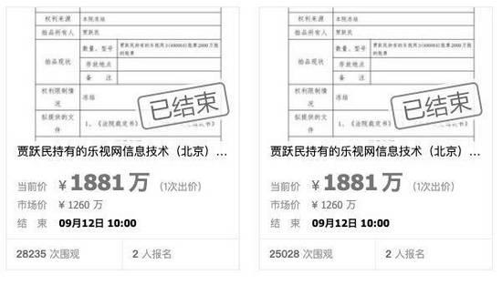 贾跃亭兄弟所持乐视股票拍出八千万  因案外人异议中止拍卖