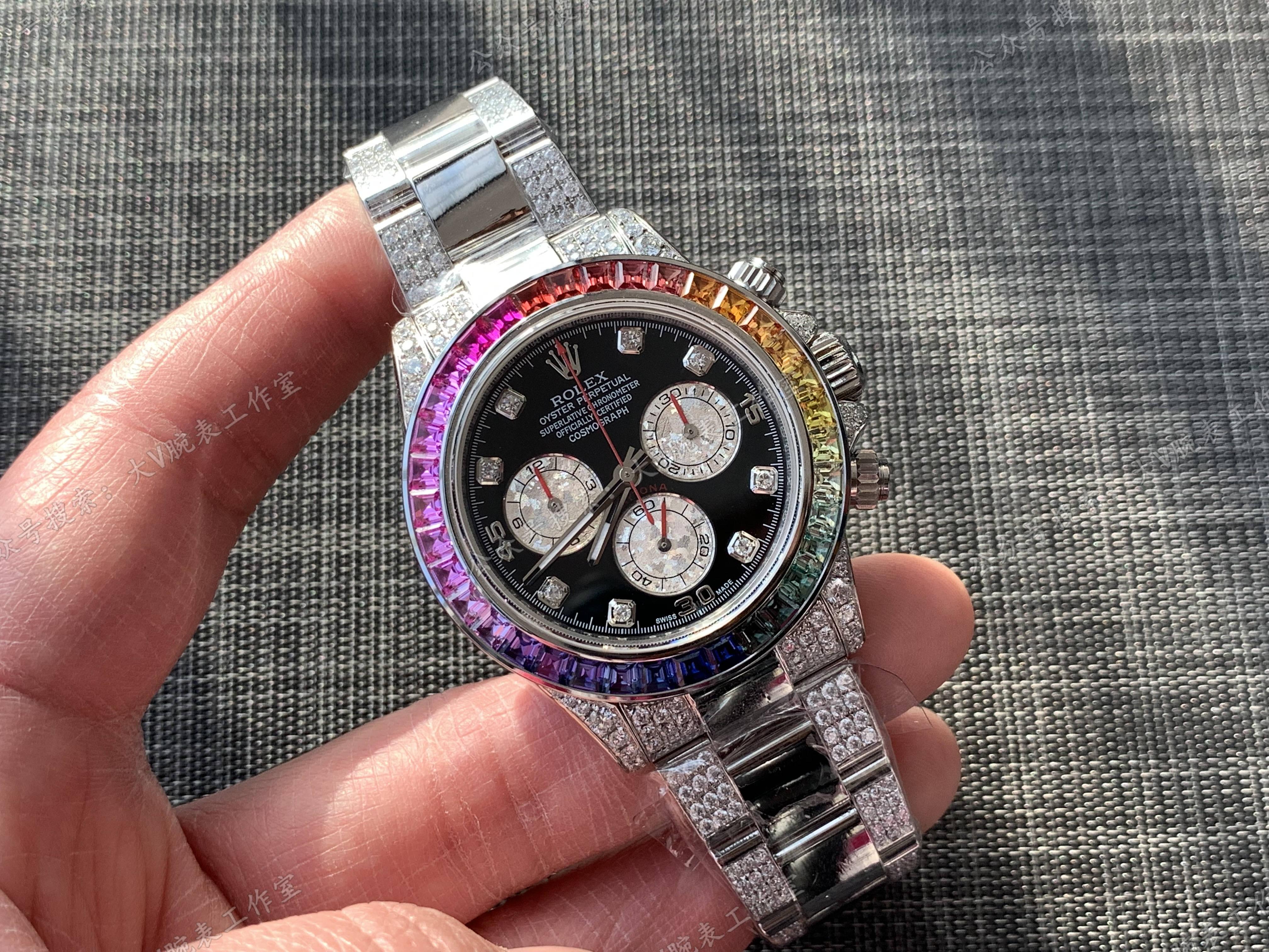 劳力士迪通拿后改装后镶钻彩虹迪腕表!白金彩虹迪通拿升级版本!