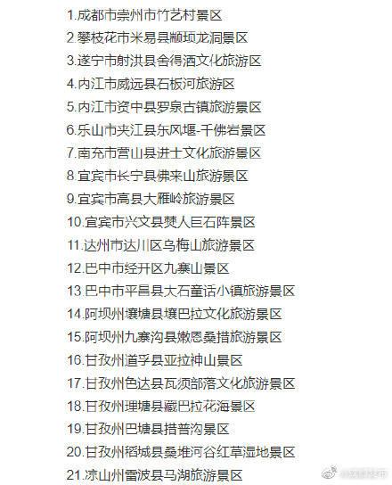 四川拟确定21家旅游景区为国家4A级旅游景区,成都崇州竹艺村景区入选