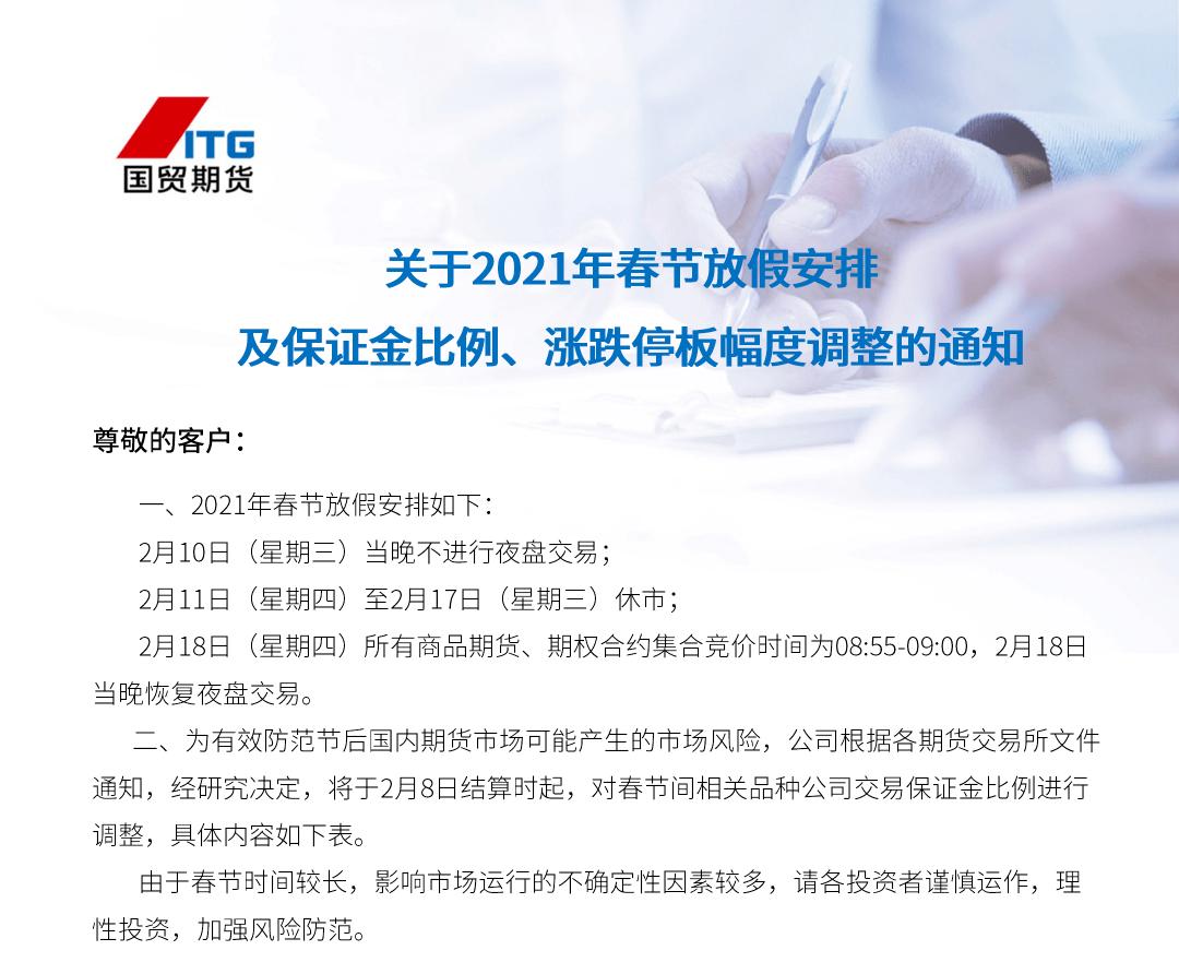 交易提示|关于2021年春节假期安排及保证金比例和限价范围调整的通知
