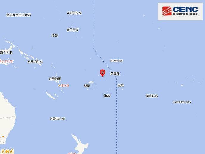 斐济群岛地区发生5.9级地震 震源深度10千米