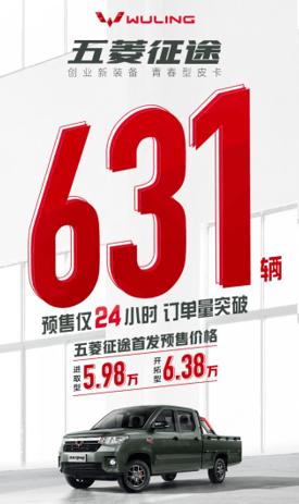预售单仅24小时就达到631,五菱正途牛