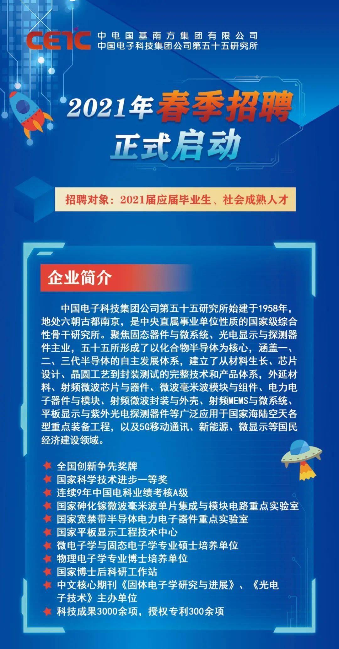 2021年春季第55届中国电子事业部招聘正式启动