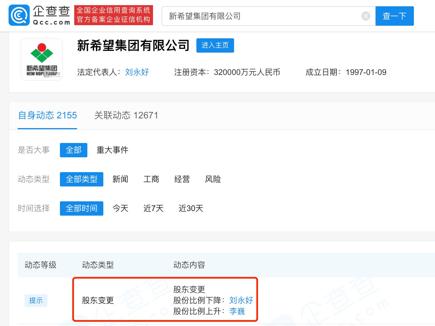 刘永好减持新希望集团有限公司股份
