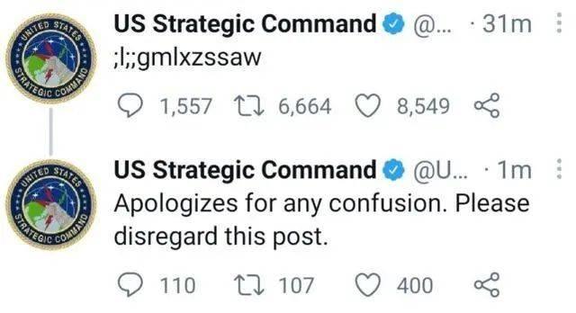 """美国战略司令部推特发出乱码推文,解释称是""""熊孩子""""所为"""