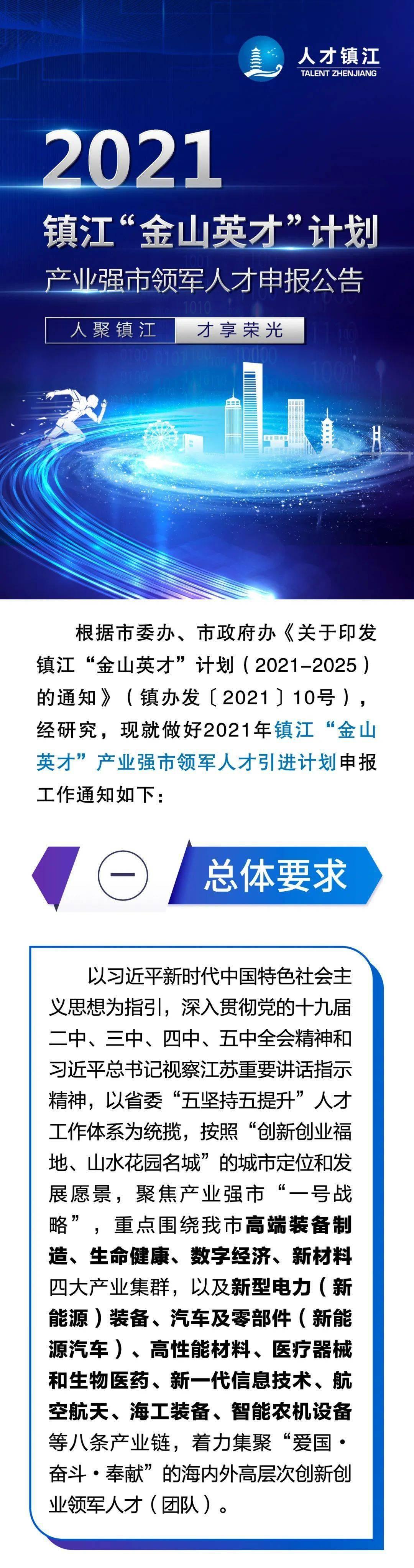 """一图看懂《2021镇江""""金山英才""""计划产业强市领军人才申报》"""