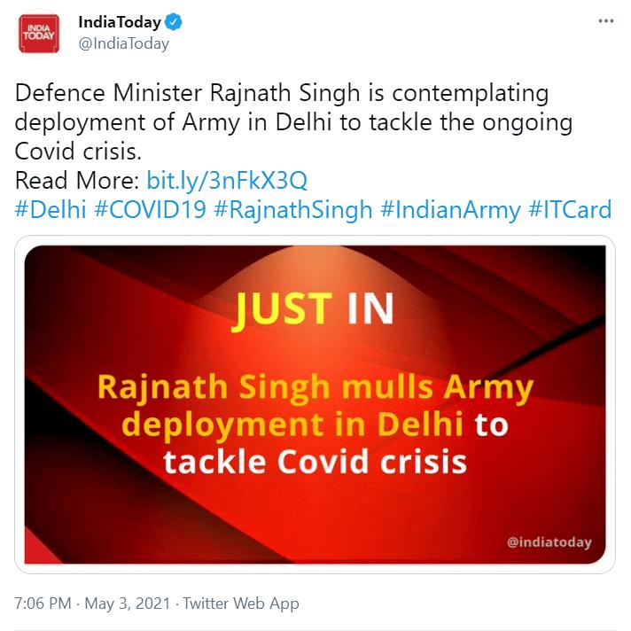 盛图注册突发!印媒:印度防长正考虑在德里部署军队,应对新冠危机