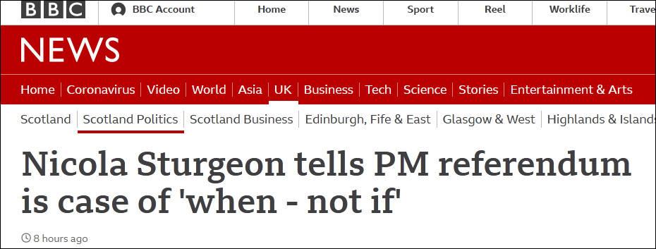 盛图注册苏格兰首席大臣喊话约翰逊:第二次独立公投只是时间问题