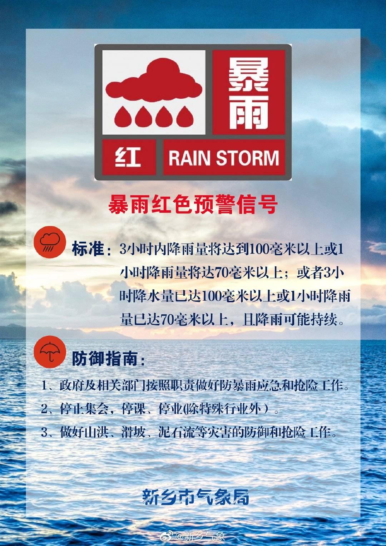 河南新乡继续发布暴雨红色预警