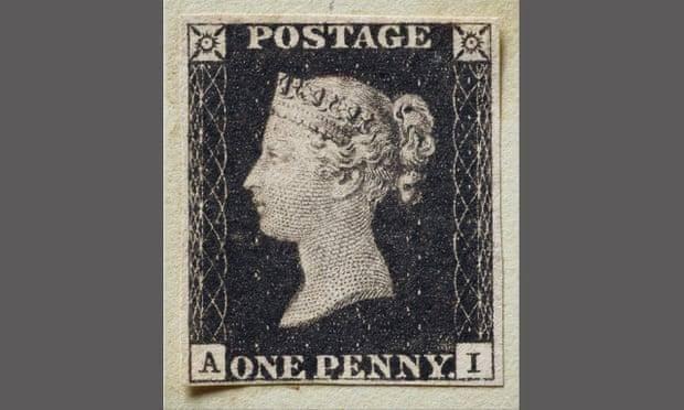 """600万英镑!世界首枚邮票""""黑便士""""将拍卖,印有英国维多利亚女王年轻时的侧脸"""